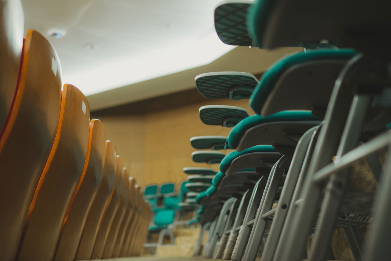 stock photo of rows of chairs